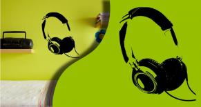 Stickers casque de musique (PARADISE Déco)