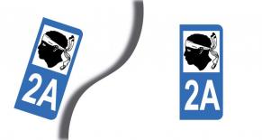Stickers plaque d'immatriculation département de corse du sud (PARADISE Déco)