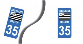 Stickers plaque d'immatriculation département d'ile et vilaine (PARADISE Déco)