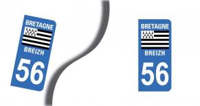 Stickers plaque d'immatriculation département du morbihan (PARADISE Déco)