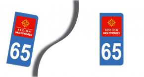 Stickers plaque d'immatriculation département des hautes pyrénées (PARADISE Déco)