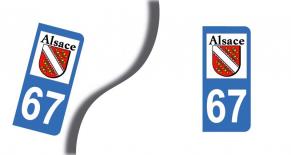 Stickers plaque d'immatriculation département du bas rhin (PARADISE Déco)