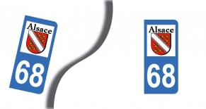 Stickers plaque d'immatriculation département du haut rhin (PARADISE Déco)
