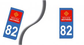 Stickers plaque d'immatriculation département du  tarn et garonne (PARADISE Déco)