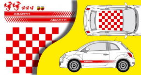 Stickers fiat 500 abarth damier complet (PARADISE Déco)