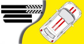 Stickers bandes damier Fiat 500 (PARADISE Déco)