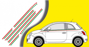 Stickers bandes laterales Fiat 500 italia (PARADISE Déco)