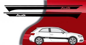 Stickers bandes latérales Audi A3 2012 (PARADISE Déco)