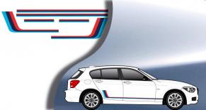 """Stickers bandes """"M"""" BMW série""""1"""" 5 portes (PARADISE Déco)"""
