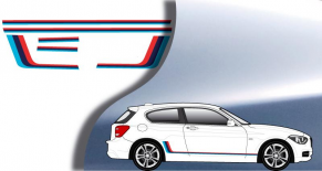 """Stickers bande """"M"""" BMW serie 1 (PARADISE Déco)"""