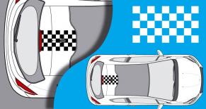 Stickers Peugeot 208 damier toit 1 (PARADISE Déco)