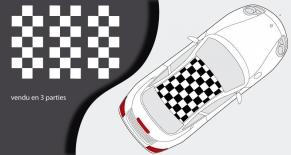 Stickers petit damier toit Porsche 996 (PARADISE Déco)