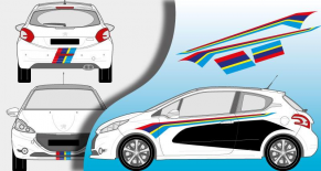 Stickers Peugeot 208 R2 light (PARADISE Déco)