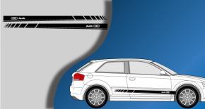 Stickers Audi bandes latérales logo Audi (PARADISE Déco)