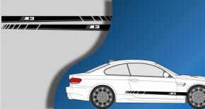 Stickers BMW bandes laterales M3 (PARADISE Déco)