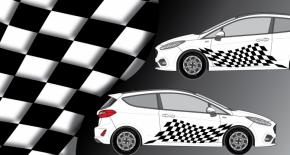 Stickers rallye kart cross kit rallye damier (PARADISE Déco)