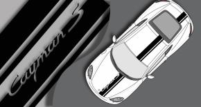 Stickers Porsche cayman toit, capot et coffre (PARADISE Déco)