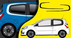 Stickers Renault Twingo 2012 entourage lateral (PARADISE Déco)