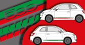 Stickers bandes laterales fiat 500 (PARADISE Déco)