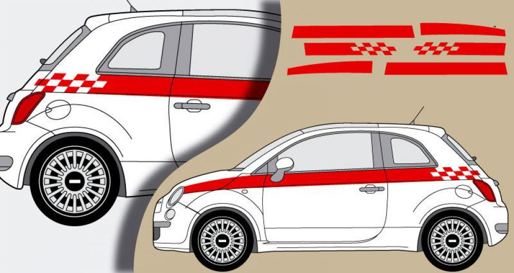 Tous stickers fiat 500 sport for Decoration murale fiat 500