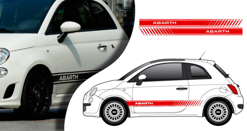tous stickers fiat 500 abarth lat ral. Black Bedroom Furniture Sets. Home Design Ideas