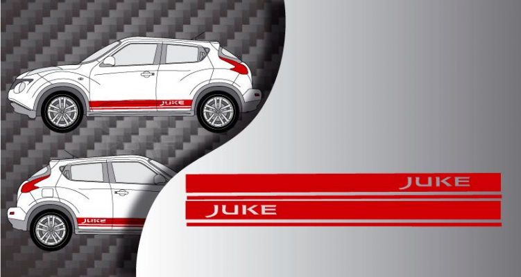 Stickers bande laterales racing nissan juke 2 (PARADISE Déco)