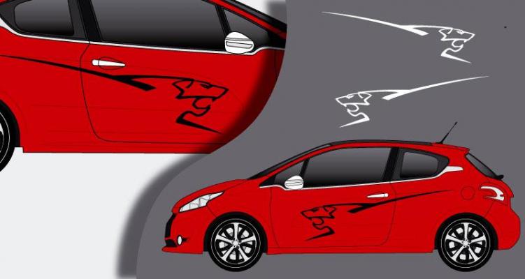 Stickers Peugeot 208 lion lateral (PARADISE Déco)