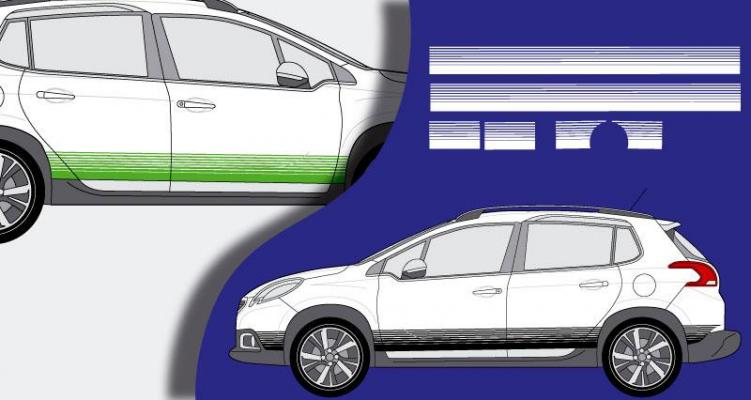 Stickers latéral bas de caisse Peugeot 2008 (PARADISE Déco)