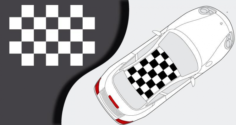 Stickers gros damier de toit Porsche 996 (PARADISE Déco)