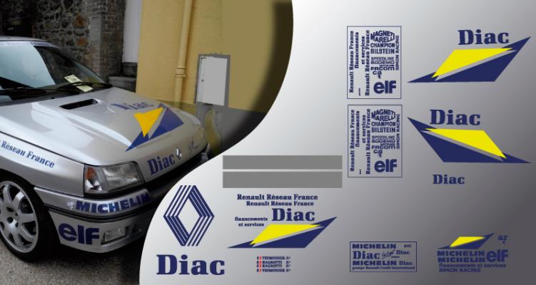 Stickers Renault clio Jean ragnotti DIAC 1992 (PARADISE Déco)