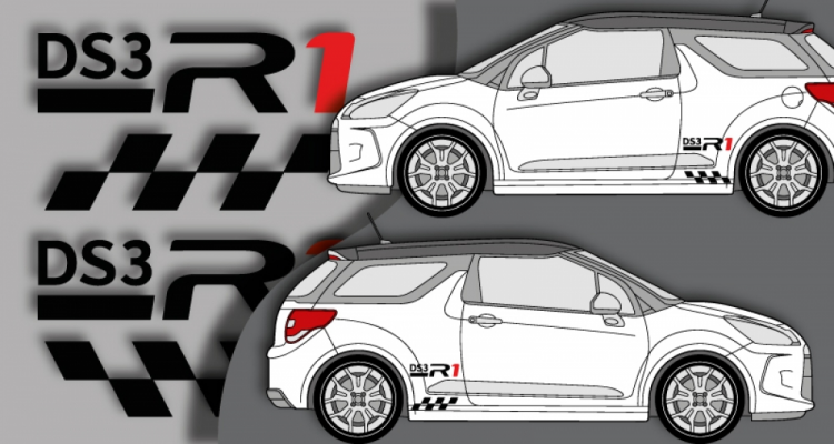 Stickers citroen DS3 R1 lateral (PARADISE Déco)