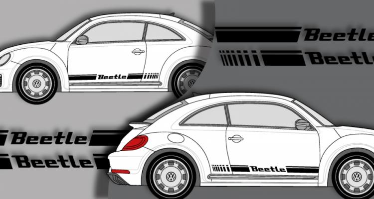 Stickers VW bandes laterales beetle 2 (PARADISE Déco)