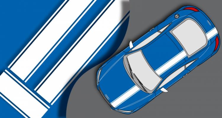 Stickers Audi bande capot, coffre et toit (PARADISE Déco)