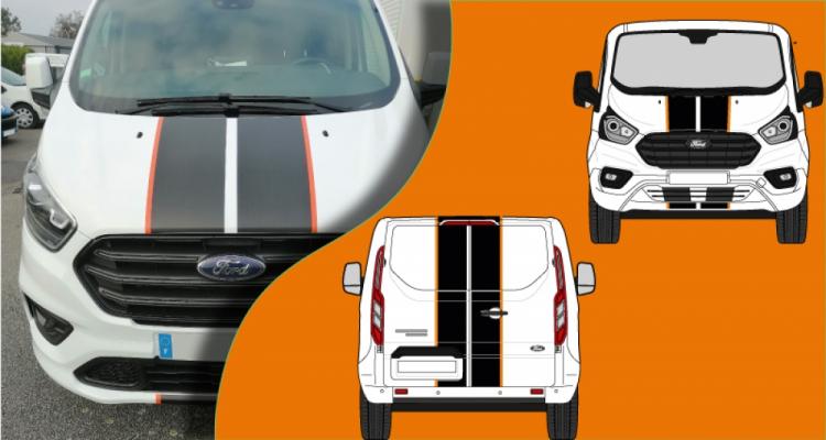 kit ford transit custom 180cv bandes capot et portes arrieres avec liserets colorés (PARADISE Déco)