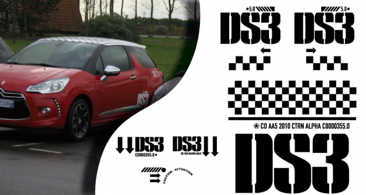 Stickers citroen DS3 racing complet (PARADISE Déco)