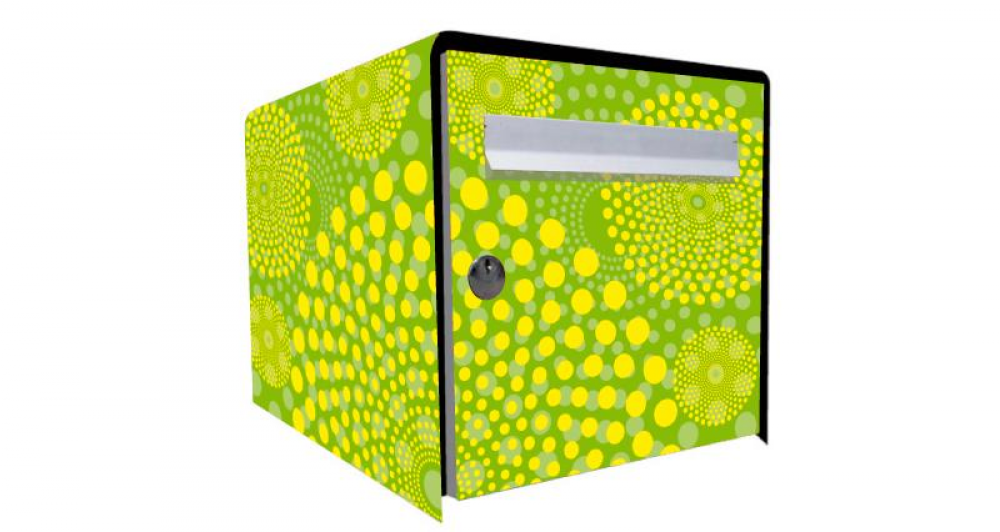stickers boite aux lettres rosace verte. Black Bedroom Furniture Sets. Home Design Ideas