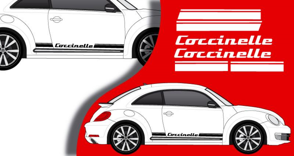stickers vw bandes laterales coccinelle. Black Bedroom Furniture Sets. Home Design Ideas