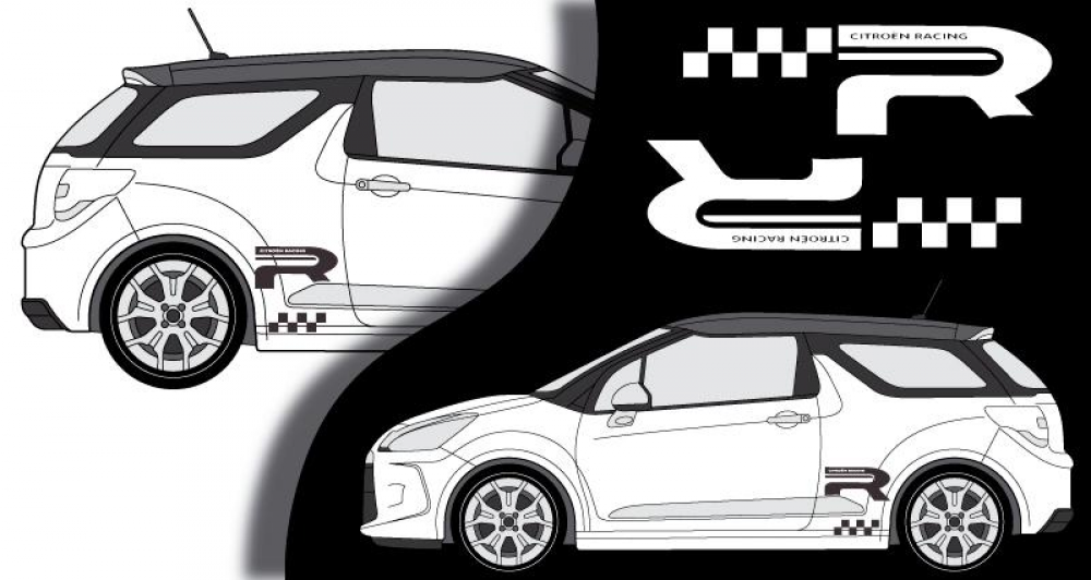 stickers citroen ds3 lateral racing 2013. Black Bedroom Furniture Sets. Home Design Ideas