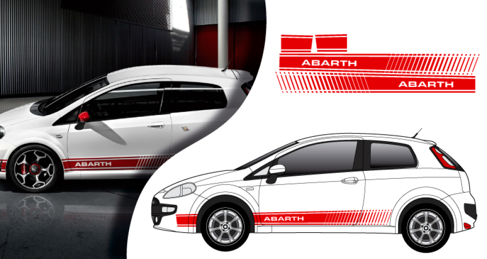 stickers fiat punto abarth. Black Bedroom Furniture Sets. Home Design Ideas